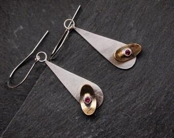 Pink Tourmaline earrings, Sterling silver earrings with brass elements, Mixed metal earrings, Windmill earrings