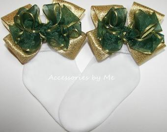 Green Gold Socks, Hunter Green Bow Socks, Organza Metallic Lame Trim Socks, Baby Toddler Pageant Socks, Flower Girls Green Gold Trim Socks