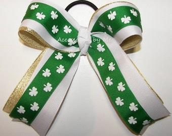 Shamrock Bow, Green White Gold Ponytail Ribbons, Notre Dame Spirit Cheerleader Bow, St Patricks Irish Dance Team Bows, Cheap Bulk Price Bows