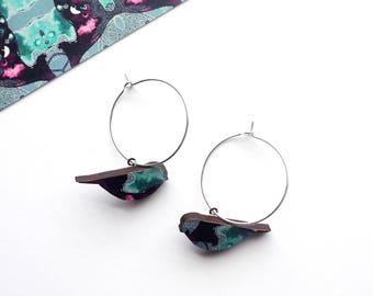 Blue Bird Hoop Earrings - Cute Hoops - Bird Earrings - Bird Jewellery - Gifts For Women - Bird Dangle Earrings - Mothers Day Gift