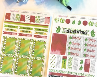 Mini Kit 003 Red Green Cactus Sticker Set, Bible Stickers, Planner Stickers, Cactus