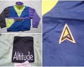 Vintage Retro Men's 80's Altitude Jacket Yellow Blue Purple Black Neon Color Block Windbreaker Pullover Medium