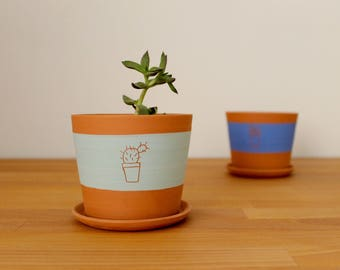 Ceramic pot and plate Cactus pot Ceramic cacti pot Blue and terracota