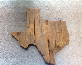 "Outline of Texas ""Fenced""- made from recycled fence wood"