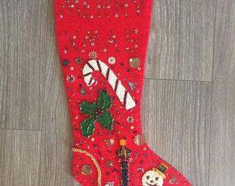 Vintage Christmas Stocking, Felt Stocking with Beads Sequins, 1950s Stocking