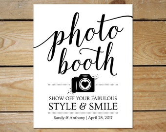 Printable Photo Booth Signs for Wedding // Editable Photobooth Sign Printable // DIY Photo Booth Template, Instant Download