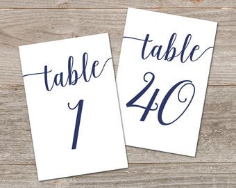 Navy Table Numbers, Bella Script // Printable Table Numbers 1-40 // Table Number Template Navy Wedding Decor