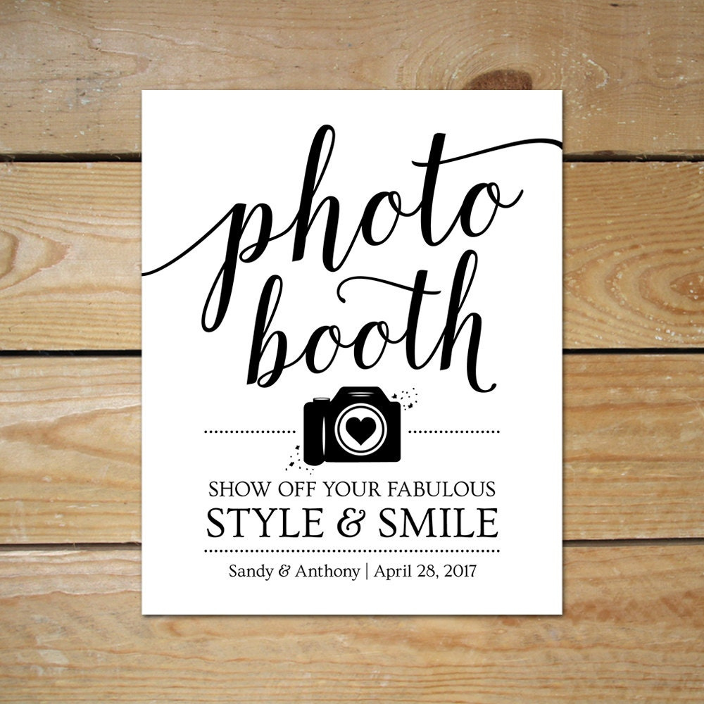 Printable photo booth signs for wedding editable photobooth for Wedding signs templates