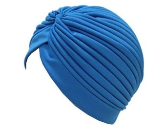 Blue Stretch Pleated Turban Hat, Women Head Wrap, Chemo Hat