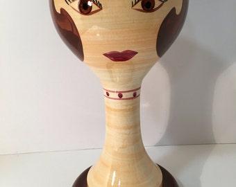 Stangl ~ Brunette Girl Ceramic Wig Head/Sculpture 1960s Original