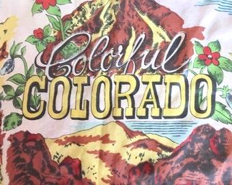 Barn Wedding, Western Wedding. Vintage Colorado Scarf Hanky. Souvenir. Colorful Colorado.