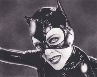 16x20 Inch Matted Print of Original Charcoal Drawing of Michelle Pfeiffer Catwoman