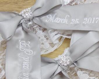 Wedding Garter, Silver Bridal Garter, Custom Bridal Garter, Personalized Garter, Embroidered Garter, Keepsake Garter, Garter Set Toss Garter