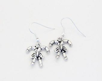 Silver Christmas Candy Cane Earrings