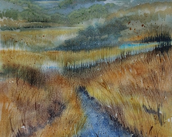Marazion Marshes, Original watercolour landscape painting of Cornwall, Cornish landscape, marshland, marshes, reeds and grasses, waterway