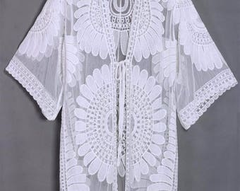 Beach Cover Up // Floral Embroidery //Resort Wear// Bathing Suit Cover Up Swimwear