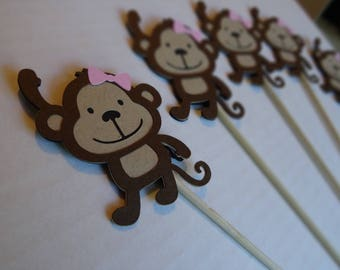 Set of 10 Monkey Centerpieces with Pink Bow