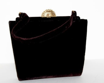 Vintage Purse//1940s//Velvet//Dark Brown//Fan Clasp//Designer Lewis//Coin Purse and Mirror// Handbag