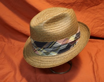 Vintage Sears Straw Rockabilly Style Fedora Hat from the 1960's in Exc. Condition - Size 7 1/4