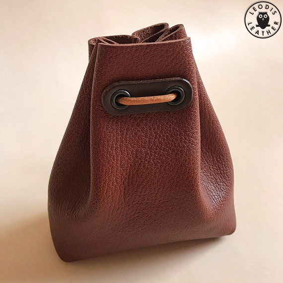 Small Leather Bushcraft Pouch (Brown Calfskin)