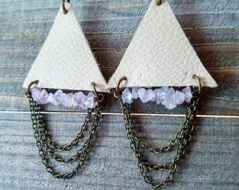leather fringe earrings - Leather earrings - chain earrings - leather triangle earrings - boho dangle earrings - boho fringe earrings