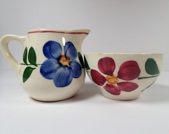 Blue Ridge Pottery Sugar and Creamer for Child's tea party tea set, hand painted flowers on white pottery