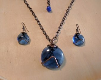 Deep Blue Glass Bead Copper Wire Wrapped Teardrop Pendant Necklace & Earrings, Water Drop Marble Pebble Adjustable Chrome Chain