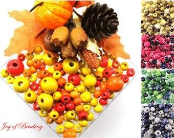 Wood Beads, Natural, Orange, Magenta, Green, Purple