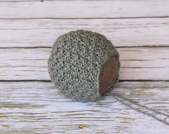Newborn bonnet, knit newborn hat, newborn photo prop, ready to ship