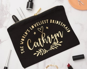 Personalised Laurel Bridesmaid Make Up Bag