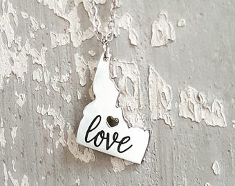 Idaho Necklace with Custom Personalized Engraving