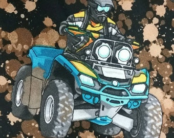 100% cotton Quilt fabric  by 1/2 yard.  4 wheel quad race DIRT bike Motorcycle 4 x 4 Focus fabric by Kanvas.  Exciting fun fast fabric.