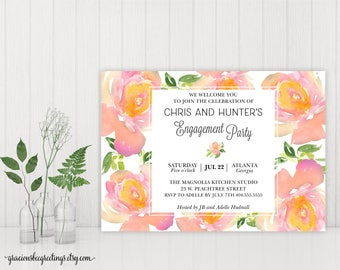 Engagement Party Invitation, Engagement Dinner Invite, Rehearsal Dinner, The Morning After, Rise and Shine, Printable, Digital Invite E15001