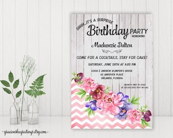 Birthday Party Invitation, Adult Birthday Invite, Women's Birthday, Surprise, 21st, 30th, 40th, 50th, 65th, 70th, 80th, 90th Celebration