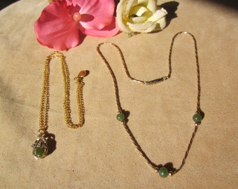 Lot of 2 genuine green JADE necklaces with chain.