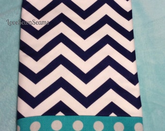 Nautical Crib Skirt/NAVY CHEVRON with Teal trim~ Adorable!  (Shipping is free with quilt)