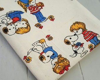 Vintage Fabric Calico Cotton Girl Boy Snoopy Dog