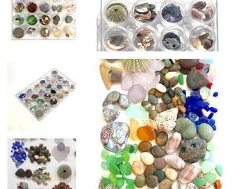 Beach Decor, Sea Glass, Beach Glass, Beachcombers Gift, Seaglass Lovers, Fairy Garden Kit, Terrarium, Zen, Beach In A Box, assemblage, Art