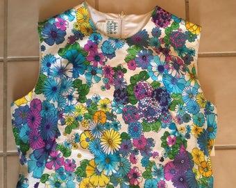 Vintage 1960's Flower Mod Dress Medium