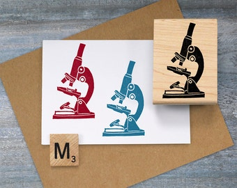 Microscope Stamp, Science Gift, Chemistry Gift, Science Teacher Stamp, Biology Chemistry Rubber Stamp, Geek Gift, Science Journal Stamp 072