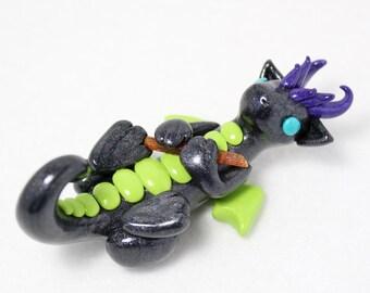 Toxic Kyanite Dragon - Polymer Clay Dragon - Gem Dragon - Kyanite Crystal Dragon - Black Dragon - Dragon Figurine - Dragon Sculpture