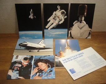 Vintage 1980s Space Shuttle postcards, The Shuttle in Space, a set of six postcards with NASA photographs