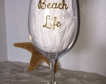 DBEG Hand Painted BEACH LIFE **acrylic** wine glass