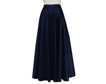 Plus Size Taffeta Skirt Navy Blue Maxi Long Formal Evening Skirt 0X 1X 2X 3X