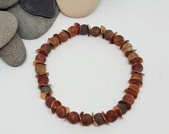 Copper Jasper Bracelet - Copper Bracelet - Jasper Bracelet
