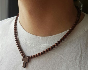 Mens Wooden cross - Mens Cross and Nylon Necklace - Wood cross - Stunning Wood cross