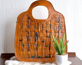 Basket Weave Tooled Leather Handbag