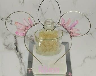 Wire and crystal pale pink mouse ear headband, bohemian, gypsy, boho, quartz
