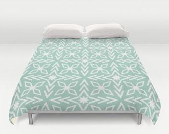 Mint Green Duvet, Mint Green Comforter, Seafoam Green Duvet, Green Comforter, White Arrows, Modern Bedding, Mint Bedroom, Ice Blue, Aria