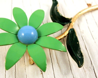 Vintage Gold Tone Green and Blue Enamel Flower Brooch (retro 60s 70s pin spring easter floral summer big large)